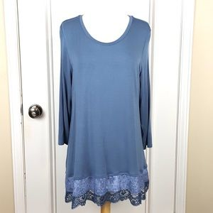 LOGO | Blue Knit Top Woven and Lace Trim